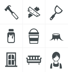 Icons set carpentry vector