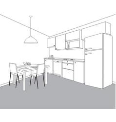 Interior kitchen room kitchen outline vector