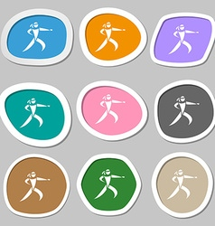 Karate kick symbols Multicolored paper stickers vector image