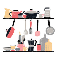 kitchenware on shelf and table stylized hand vector image