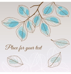 Linden leaf blue style with place for your text vector