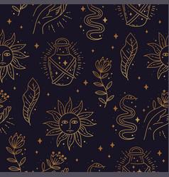 Magic boho symbols seamless pattern golden vector