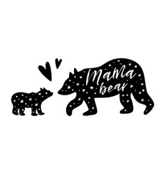 Mama bear babear black bear family print vector