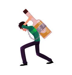 Man carrying huge liquor bottle on his back vector