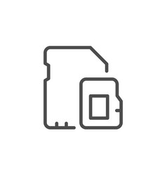 Memory card line outline icon vector