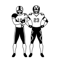 men players american football on white background vector image