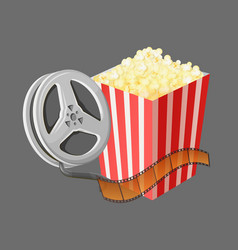 movie elements popcorn and reel with tape vector image