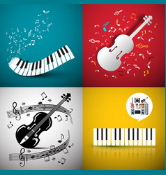 music backgrounds with violin and piano keyboard vector image