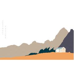 natural landscape background with japanese wave vector image