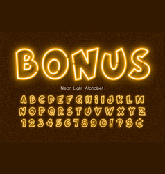 Neon light 3d alphabet extra glowing comic style vector