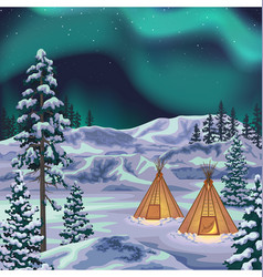 Night northern landscape with aurora borealis vector