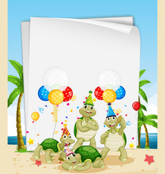 Paper template with cute animals in party theme vector