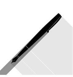 pen sign black icon with two vector image