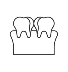 Plaque tooth decay cavity simple outline icon vector
