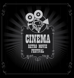 poster for cinema movie festival with old camera vector image
