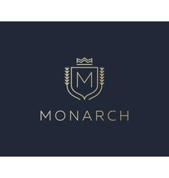Premium monogram letter M initials ornate vector