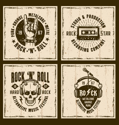 Rock and roll music four vintage style emblems vector