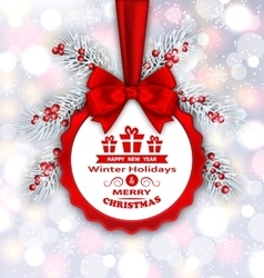 Round banner with red ribbon and bow for happy new vector