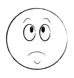 sad chat emoticon sketch vector image