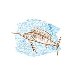 Sailfish Fish Jumping Sketch vector