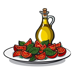 Salad with basil vector