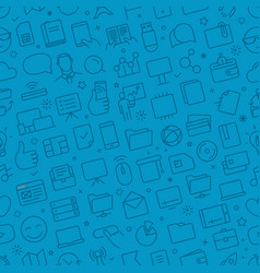 seamless pattern of different web icons set vector image