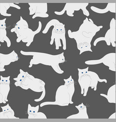 Seamless pattern with white cats vector