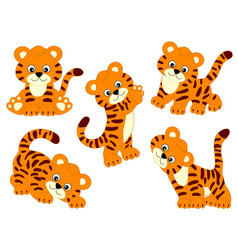 set of cute cartoon tigers vector image