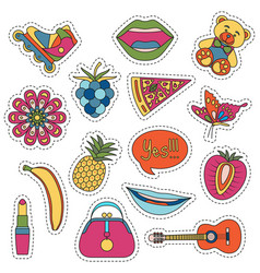 Set of fashionable cute patches elements vector