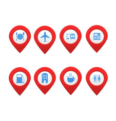 Set of location map markers with place vector