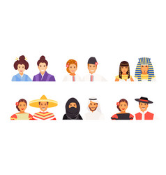 set of nationalities avatars 2 vector image