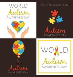 Set of posters for world autism awareness day vector