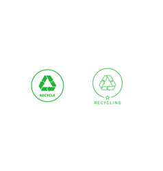 set recycling sign green round line sticker vector image