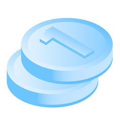 stack coin icon isometric style vector image