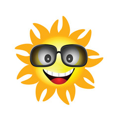 sun face with sunglasses one vector image