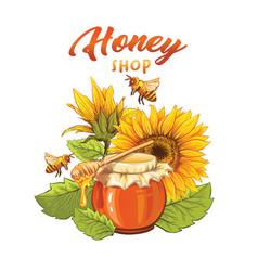 sunflower honey shop flat banner template vector image