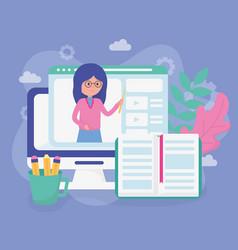 Teacher laptop website school education online vector