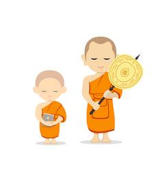 Thai monks talipot fan in hand and thai novice vector