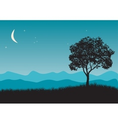 Tree in night scene vector image