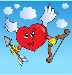 valentine heart on blue sky vector image