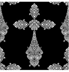 vintage religious crosses in black and white vector image