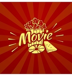 Watching a movie typography vector image
