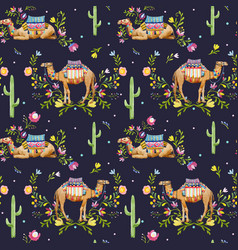 Watercolor camel pattern vector