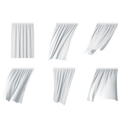 white curtain set realistic vector image