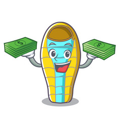 with money bag sleeping bad mascot cartoon vector image
