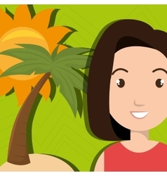 woman sun palm beach vector image