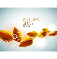 Autumn shiny flying leaves background vector image