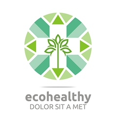 ecohealthy leaves go green design vector image