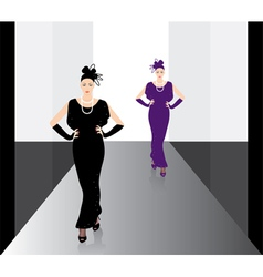fashion models on the podium vector image vector image
