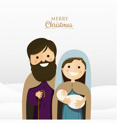 merry christmas greeting with holy family vector image